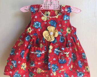 VTG Sprockets Baby Girl Summer Dress Sz 3-6M Red Flowers