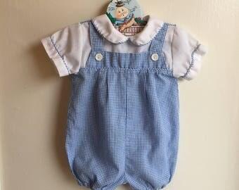 VTG Alexis Baby Boy Blue Gingham Romper Sz 3-6M Jon Jon