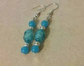 Artisan Handmade Blue Twist Bead Silver Accent Dangle Style Beaded Earrings Jewelry Gift Fashion Accessory Unique