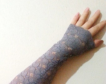 Long Fingerless Gloves, Long Grey Lace Gloves