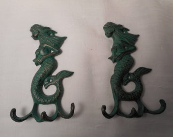 Cast iron mermaid hook / beach decor / nautical decor