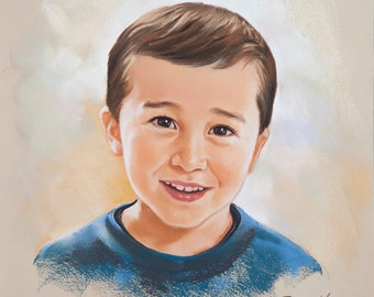 Small Pastel portrait of a boy, Handmade portraits