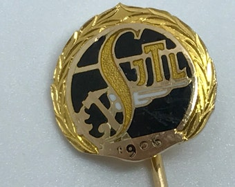 Rare Solid 14K Yellow Gold SJTL Pin