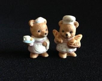 Vintage Miniature HOMCO 8820 Career Bears (2 kitchen maid bears)   (LDT3)