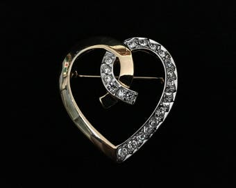 Vintage Rhinestone Heart in Gold Tone by AFJ (Tier 2)
