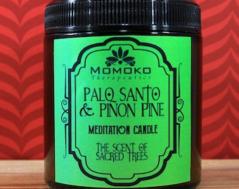 Palo Santo and Pinon Pine Meditation Candle - soy wax candle-made with all natural essential oils