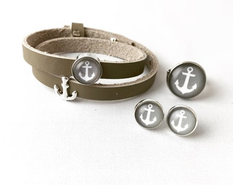 "Glass jewelry set ""Anchor grey"""