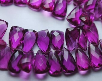 5 Matched Pairs,Rodolite Pink QUARTZ Faceted Pyramid Trillion Shaped Briolettes,8x15mm