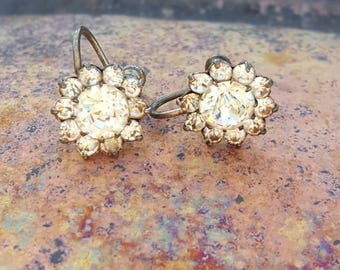 Clip on rhinestone earrings