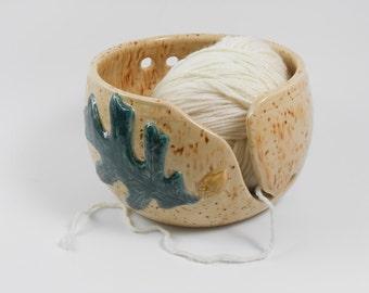 Knitting yarn bowl - oak leaf yarn bowl - pottery yarn bowl - ceramic yarn bowl - yarn holder  Y37