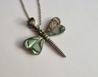 vintage sterling abalone dragonfly pendant necklace