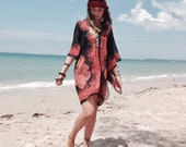 BOHO KAFTAN three ways - bohemian kaftan, beach COVERUP, boho top, Gypsie top, hippie top, fashion top