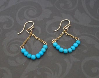 Turquoise Bead Earrings Triangle Dangles Gold Filled Chain Delicate Jewelry Shillyshallyjewelry