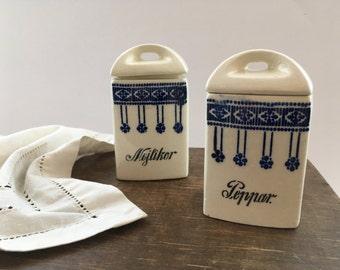 Antique Swedish canister set Cream blue kitchen storage boxes Pepper lidded porcelain containers Antique kitchen decor