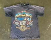 Vintage Harley Davidson Real Steel Drestressed Black T Shirt: C-041