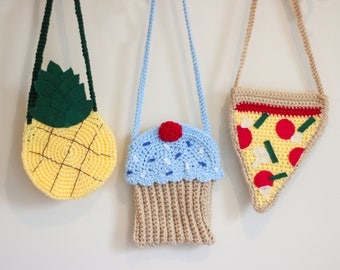 Pizza Purse/ Pineapple Purse/ Cupcake Purse/ Girls Purse/ Crocheted Purse/ Pizza gift/ Pineapple Gift/ Cupcake Gift/ Girls gift/