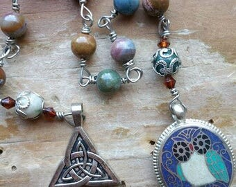 Pocket Prayerbeads, pocket owl mala, pocket wisdom mala, celtic prayerbeads, celtic mala, owl mala, owl prayerbeads, wisdom mala,