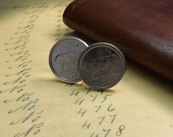 Genuine Irish 5 pence Coin Set In 18mm Silver Plated Cufflinks Bull, Taurus