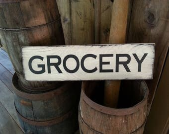 GROCERY Wooden Sign, Farmhouse Décor, Fixer Upper, Home Décor, Rustic, Groceries, Primitives, Primitive Wood Sign, Farmhouse Sign