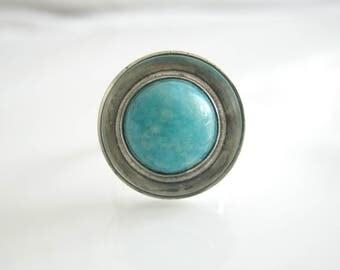 1970s Georg Kramer Vintage Amazonite Silver Ring, Fishland, Vintage Jewelry