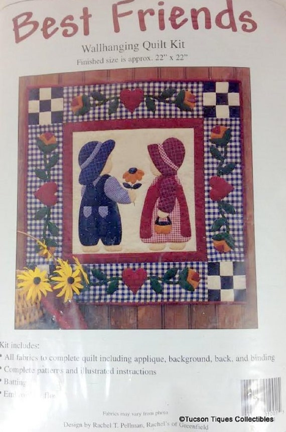 "Applique Wallhanging Quilt Kit Best Friends, Children with Bonnets, Includes Fabric, 22"" x 22"""