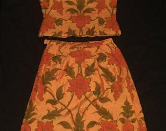 Vintage 1960's Raw Silk Oriental Two Piece Set