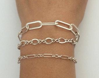 Sterling Silver Chain Bracelet, Dainty Bracelet, Minimalist Bracelet, Silver Bracelet