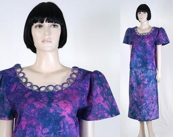 Women's African 2-Piece Outfit - African Clothing - Size 11 - Skirt & Top - Magenta/Purple/Blue - Batik - Tie Die - Bohemian