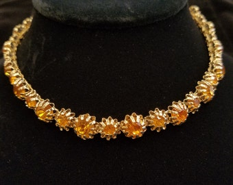 Vintage Amber Crystal Necklace, ca 1950s