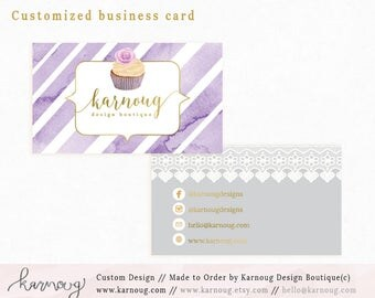 Cupcake Business Card|Instant Business Cards|Bakery Business Cards|Custom Business Cards|Printable Business Cards|Gold|Printable Cards