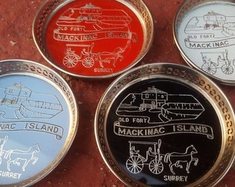 Vintage Mackinac Island 4 Metal Coaster Set