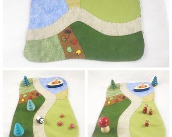 Vegetable Playscape wool felt play mat felt Woodland landscape Camping Wilderness Farm Quilt Fairy Garden lake imagination storytelling