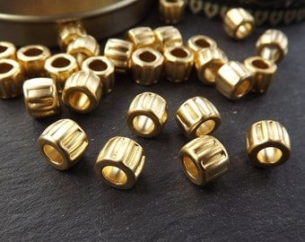 Round Line Ribbed Detail Barrel Beads -  22k Matte Gold Plated Brass - 8pc
