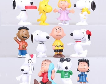 SNOOPY Peanuts CAKE TOPPER Charlie Brown Woodstock Lucy Linus 12 Figure Set Birthday Party Cupcakes Mini Figurines * Fast Shipping *