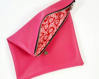 Hot Pink Purse, Foldover Clutch, Clutch Bag, Leather Purse, Gift For Her, Birthday Gift, Gift For Teen
