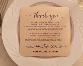 Wedding Thank You Spanish & English