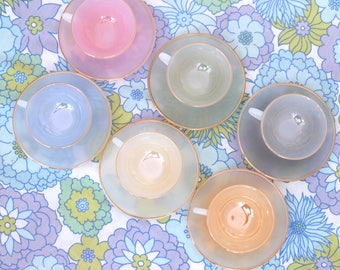 Vintage Mini Arcopal Espresso Coffee Cup Set, Small Opalescent Tea Set, Arcopal Cups & Saucers, Harlequin Pastel Tea Set, French Arcopal