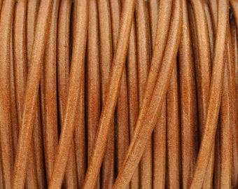 """3MM Round Leather Cord - Cognac  -   1M/40"""""""