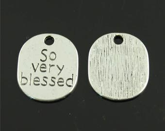 10 So Very Blessed Tag Charms, 22x19mm Antique Silver Tone So Very Blessed Charms Pendant, Tag Charm