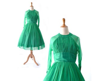 Vintage Dress, Green Dress, 1960s Dress, 60s Dress, Party Dress, 1950s Dress, 50s Dress, Vintage Clothing, Womens Clothing, Small Medium