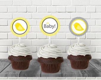 "Yellow Bird Baby Shower 2"" Cupcake Topper - Printable PDF - Instant Download - Immediate Download"