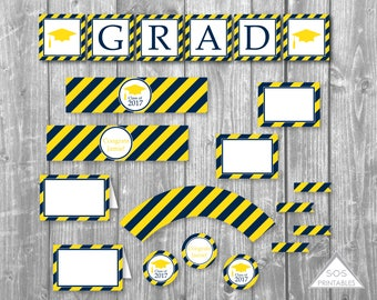 Graduation Party Printables, Editable Grad Party, Graduation Printables, Open House, Printable PDF, instant download party, Navy and Gold