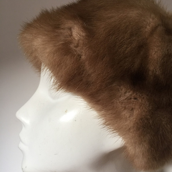 Vintage mink hat vintage fur cap winter hat real fur 1960s furry hat small medium