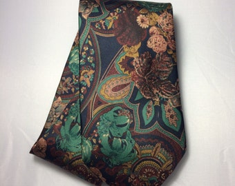 Vintage Silk Floral Print Tie, Italian silk necktie, ties made in Italy, 100% silk ties, vintage neckties, vintage ties