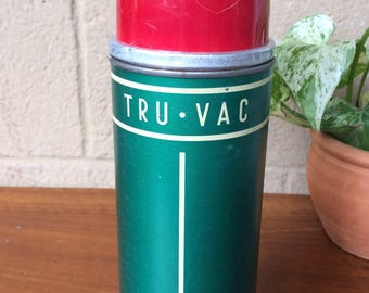 "Vintage ""Tru-Vac"" Green Metal Thermos with Cork Stopper, 10""H"