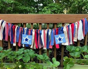Patriotic Ragtie Banner - July 4th Bunting, Patriotic Photo Prop