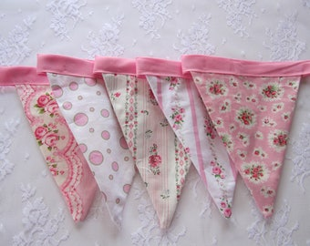 Floral Shabby Chic  Birthday Flags Little Girls Party Decoration Shower Decor