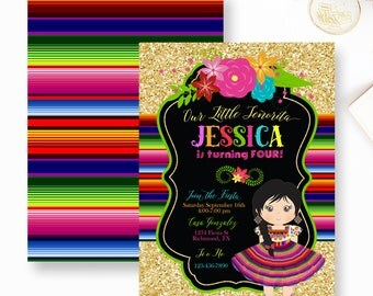 Fiesta Mexican Birthday, Mexican Party, Fiesta Mexican Invitation, First Fiesta Birthday Invite, Zarape Invite- YOU PRINT