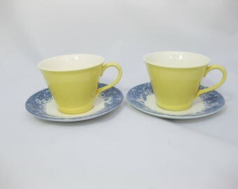 Mismatched Stoneware Tea Cups, Mismatched China Tea Cups and Saucers