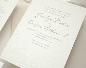Lace Letterpress Wedding Invitation, Blind Impress Lace Letterpress Invitations on 2-Ply Cotton Paper, Letterpress SAMPLES | Harmony